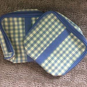 Lancôme NEW Gingham Green and Blue Makeup Bag
